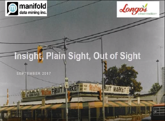 Longo's Intro slide for their presentation on how they use Manifold Data Mining for data analytics