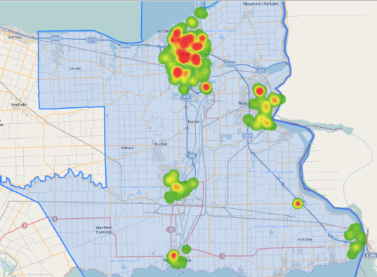 Heat map of vulnerable populations to COVID-19 in St. Catharines outlined by the CMA of the town