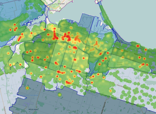Overlay of thematic map and heat map to show importance of granular postal code level data