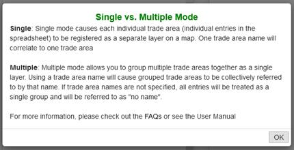 Trade area uploads, single vs multiple mode