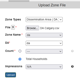 Upload DA (Dissemination Area) files as zone files for targeting (e.g. find the best prospects)